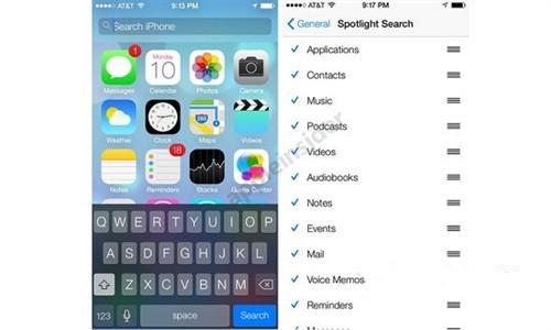 iOS7 新的手势搜索