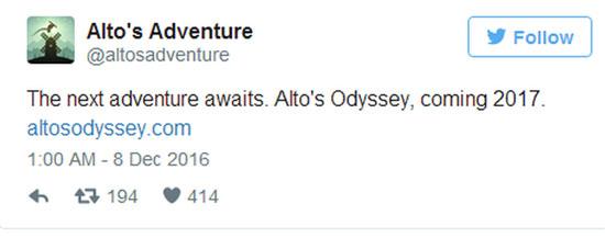 《阿尔托的冒险》开发商新作公布 唯美世界体验全新故事