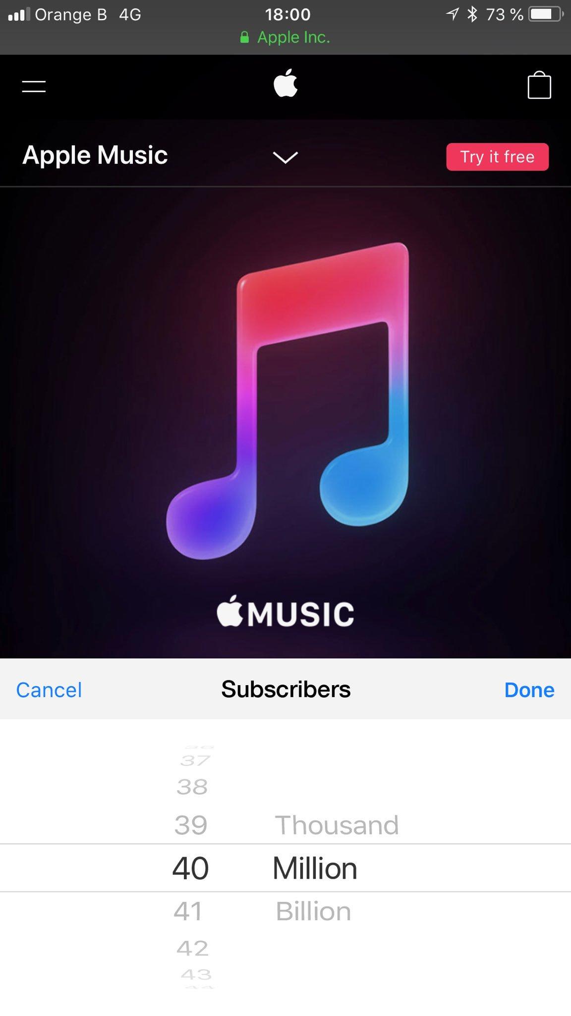 苹果Apple Music全球订阅用户突破4000万