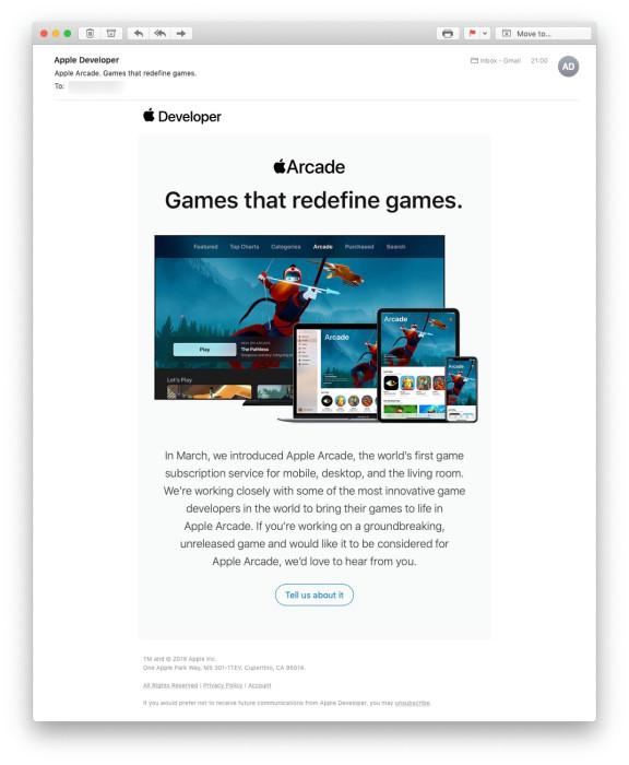 苹果发送邮件邀请开发者加入 Apple Arcade 游戏订阅服务
