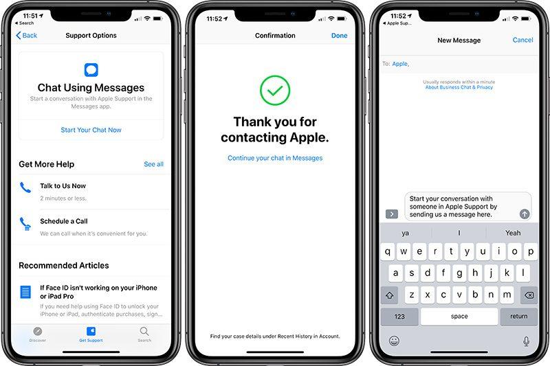 「Apple 支持」新增通过 iMessage 在线聊天获取技术支持功能