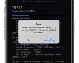 unc0ver 越狱时弹出 RootFS already mounted 错误的解决方法