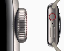 钛金属表壳版本 Apple Watch Series 5 相比不锈钢版本轻约 13%