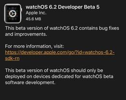 Apple 推送 watchOS 6.2 开发者预览版 Beta 5
