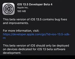 苹果发布 iOS 13.5/iPadOS 13.5 开发者预览版 beta 4