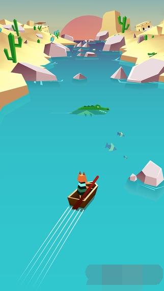可爱奇幻又虐心的休闲游戏,玩家需要操着一只小动物驾驶的小船在一条