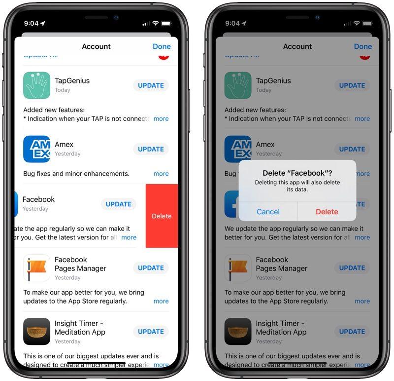 在 iOS 13 中的 App Store 中的更新界面可以直接删除应用