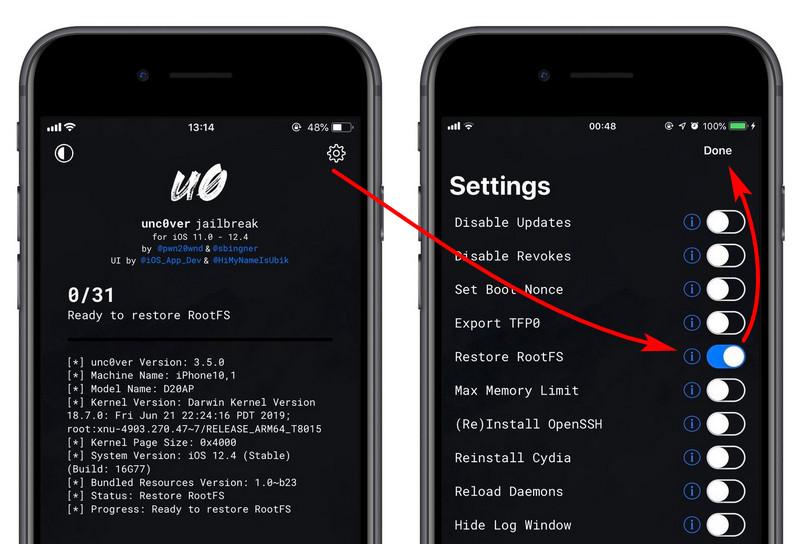 iOS 12.4 越狱:使用 unc0ver 自带功能清除越狱环境
