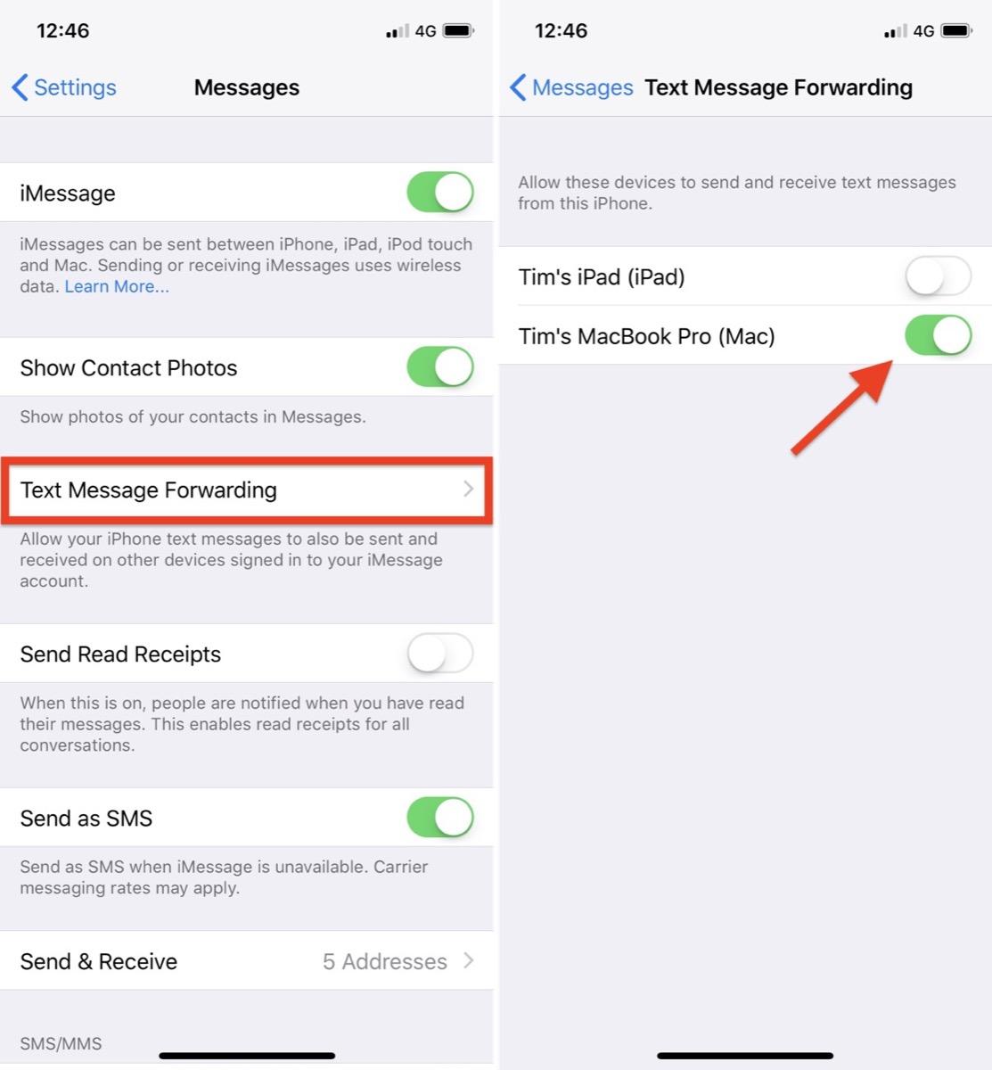 如何通过文本信息转发在 iPad 和 Mac 上发送和接收普通短信?
