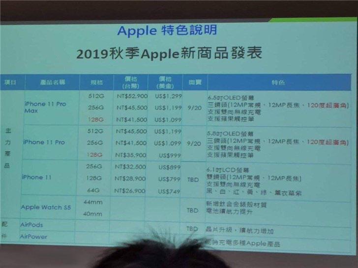 苹果 iPhone 11 全系列中国台湾价格表曝光:约 5333 元起