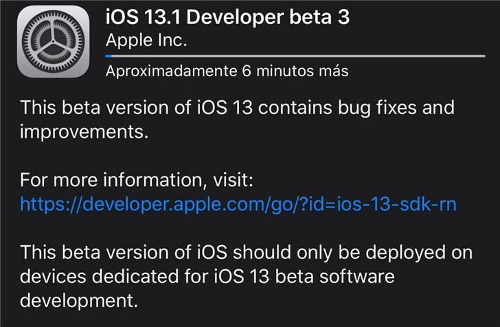 苹果推送 iOS 13.1/iPadOS 13.1 开发者预览版 beta 3