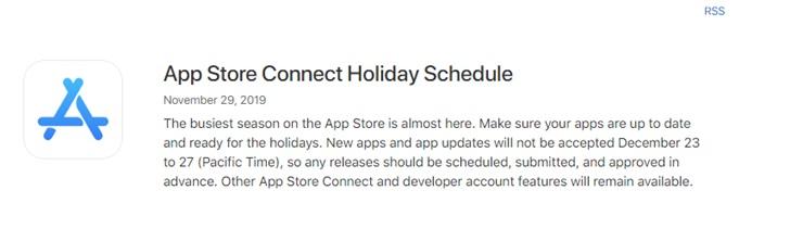 苹果官方提醒:12 月 23 日至 27 日不接受 App 更新及发布