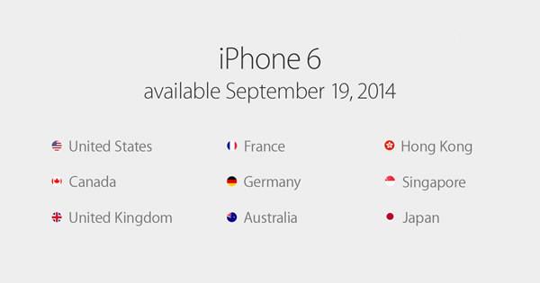 苹果iPhone6首发市场无中国大陆