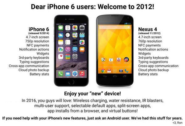 苹果iPhone6遭安卓粉丝调侃:欢迎来到2012