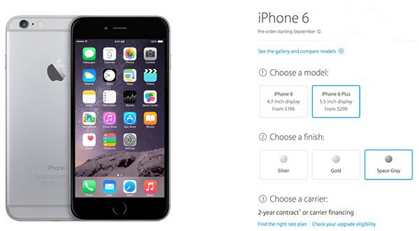 今日开放预订苹果iPhone6/6 Plus,可店内取货