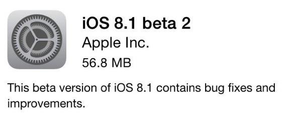 苹果向开发者推送iOS 8.1 Beta 2