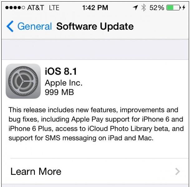 iOS8.1升级问题依旧 存储空间是硬伤