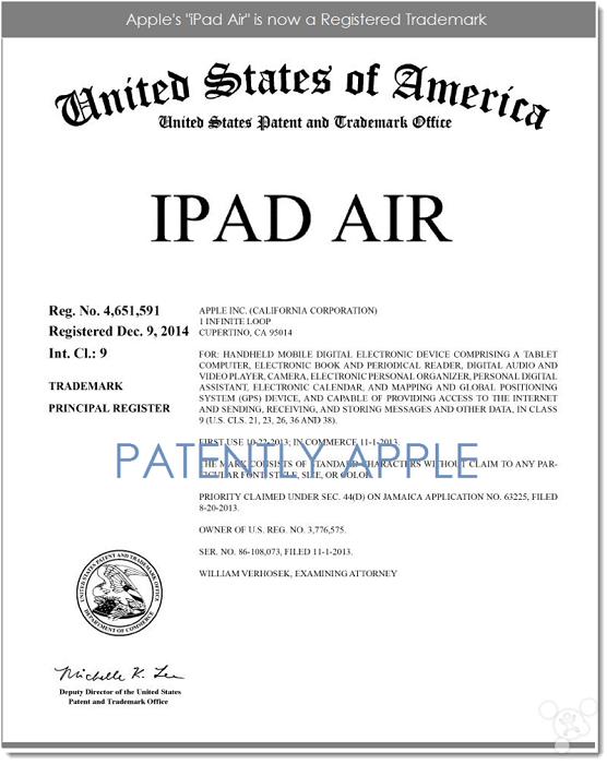 iPad Air终于成为苹果注册商标