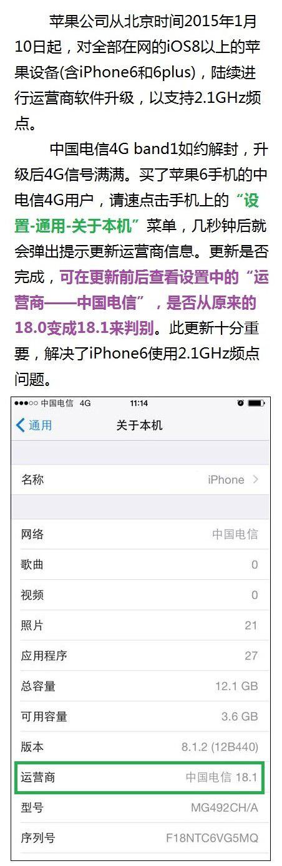 苹果iPhone6电信4G信号大提升