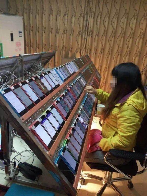 勤劳的App Store刷榜工人:百台iPhone齐上阵