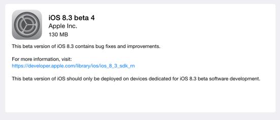 苹果公司发布iOS 8.3 beta 4更新