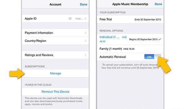 如何防止Apple Music免费期后自动续费?