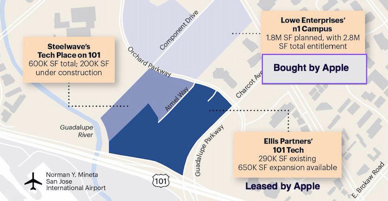 苹果在 San Jose 购买43英亩场地,花费1.38亿美元