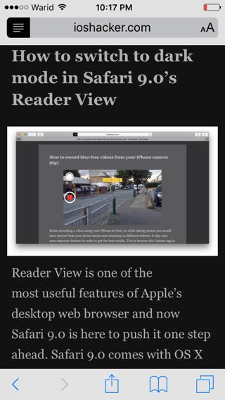 如何在iOS9的Safari阅读视图开启夜间模式