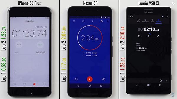 iPhone6s Plus/Lumia950 XL/Nexus 6P速度比拼