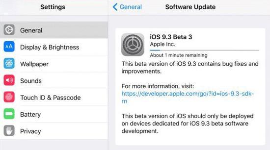 苹果再发iOS 9.3 Beta 3 新增Wi-Fi通话功能