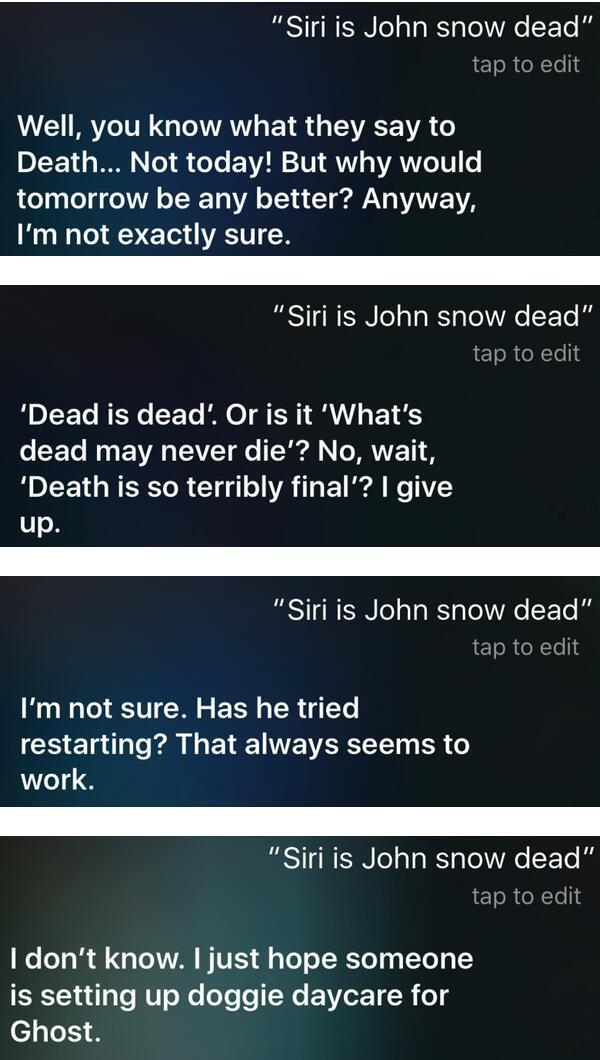 Jon Snow生死问题,或许只有 Siri 知晓