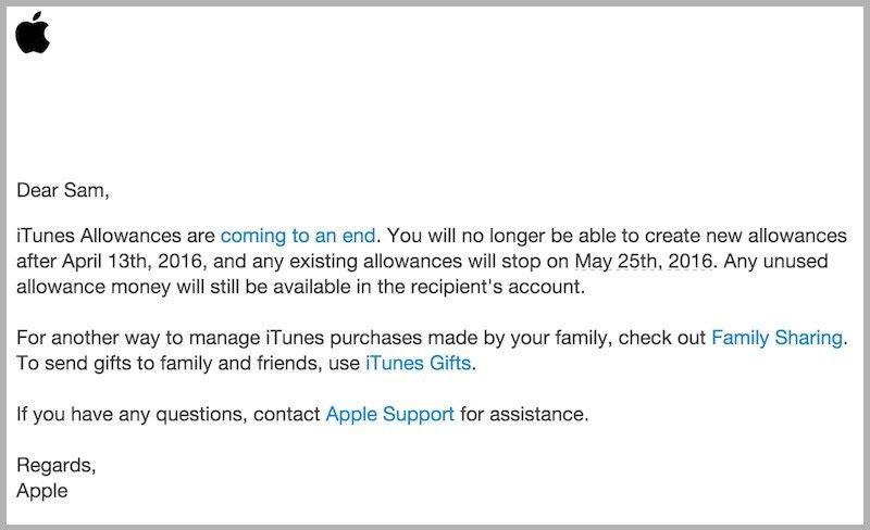 iTunes补助服务终止 苹果建议使用家人共享