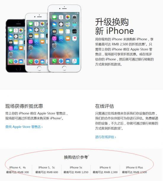 苹果调整以旧换新估价 iPhone4S仅300元