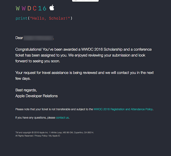 WWDC2016奖学金获奖者公布:已收到苹果通知