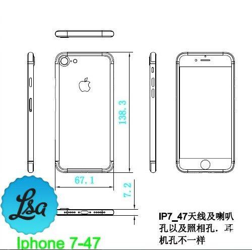 """疑似iPhone 7设计图:貌似外观、""""三围""""都已确定"""