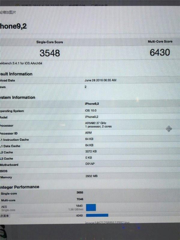 苹果iPhone7/Plus A10处理器跑分曝光:3GB运存,成绩超A9X