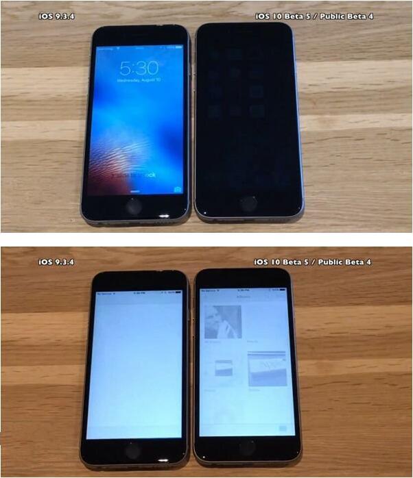 iOS10 beta5/iOS9.3.4速度对比:值得升级