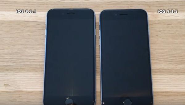 苹果iPhone6s运行iOS9.3.4与iOS9.3.5速度对比