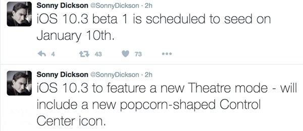 苹果iOS10.3 Beta1本月10号发布   新增影院模式