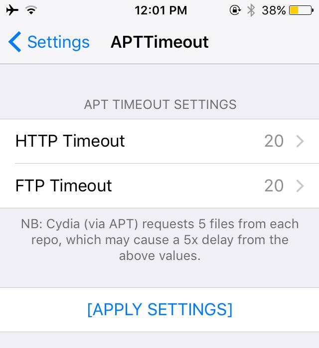 插件APTTimeout :帮你解决 Cydia 刷新超时问题