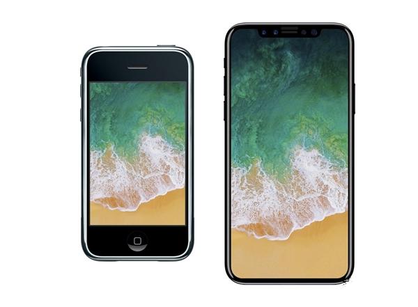 第一代iPhone、iPhone 8对比:回忆满满