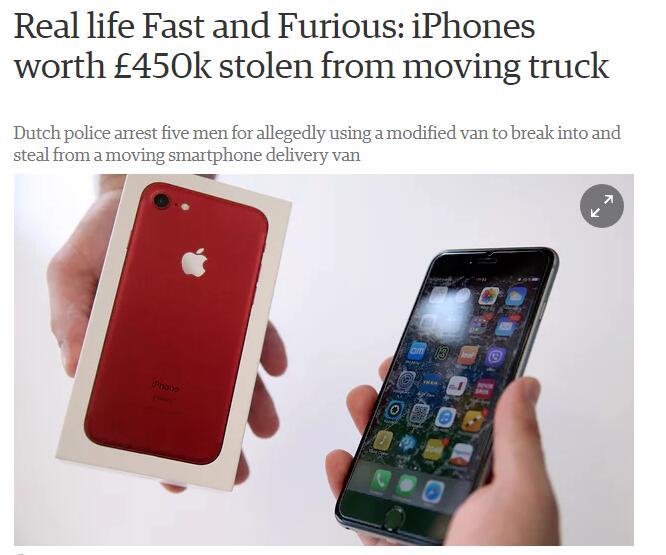 堪比大片:价值59万美元iPhone在行驶卡车中被盗
