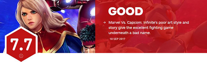 极佳格斗 《漫画英雄vs卡普空:无限》IGN 7.7分,人设拖后腿