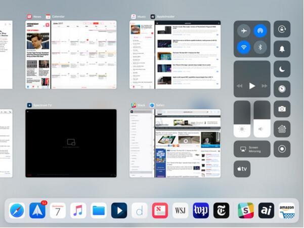 iOS 11:屏幕上同时运行4个iPad应用程序