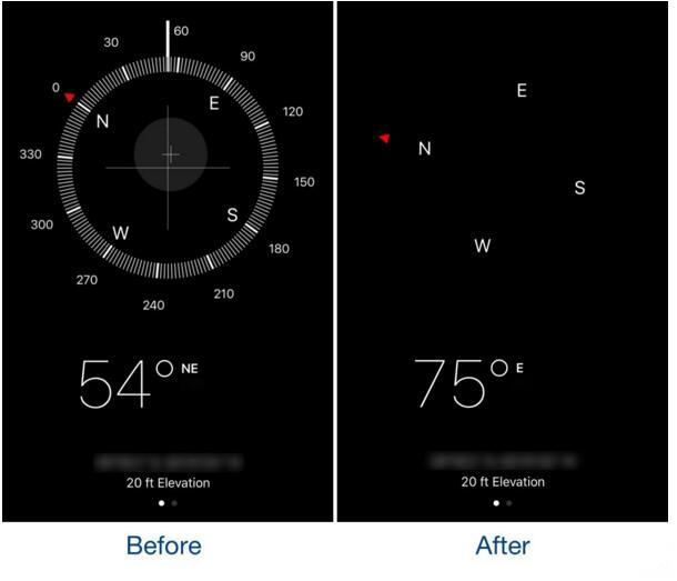 这款插件可以简化iPhone指南针应用的界面