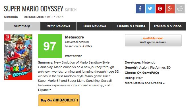 令人惊叹!《超级马里奥:奥德赛》评分解禁:满分神作 最纯粹的乐趣