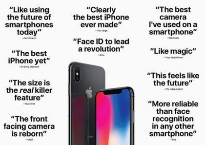 有点罕见:苹果汇总 iPhone X 的积极评论