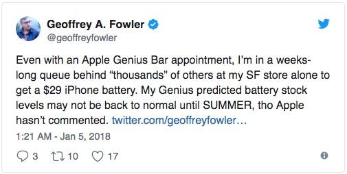 苹果电池库存告急,想换iPhone电池得等上数周