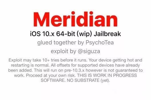 iOS10~10.3.3越狱工具Meridian推出!支持所有64位设备