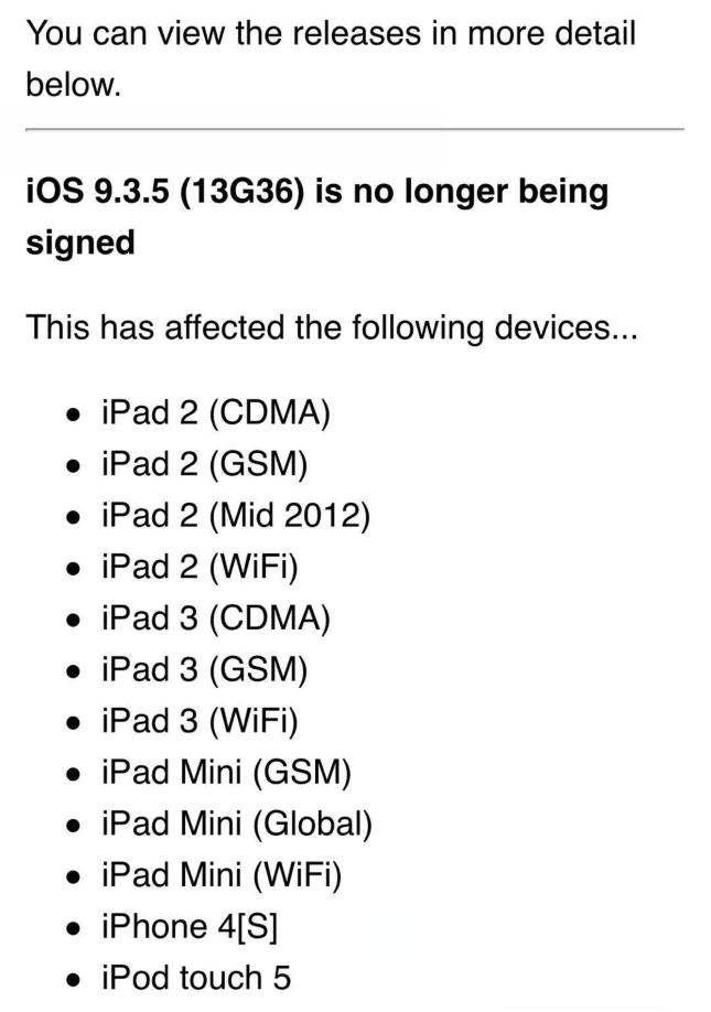 苹果关闭iPhone4s等设备iOS9.3.5刷机验证,目前已恢复